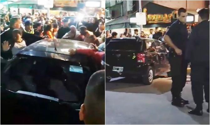 Resultado de imagen para Se metió con el auto en la peatonal llena de gente y casi provoca una tragedia