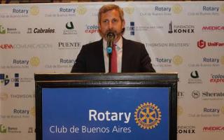 """Frigerio, en el marco del ciclo de conferencias del Rotary Club de Buenos Aires """"Qué pretendo para la Argentina""""."""