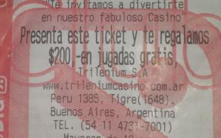 Ticket de supermercado que sirve como voucher para apostar en el casino de Tigre.