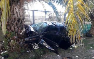 Así quedó el vehículo tras impactar contra una palmera.