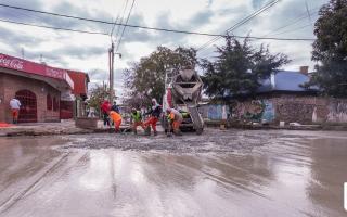 Grindetti supervisó obras en la Avenida 9 de Julio.