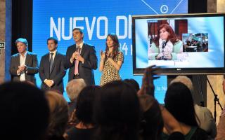Cristina en videoconferencia con Randazzo y Recalde.