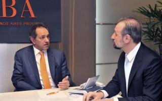 Scioli junto a Presidente del Banco Provincia, Gustavo Marangoni.