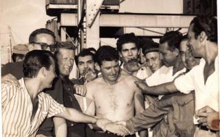 Almada junto sus compañeros cuando arribó a Hudson. Foto: José Miguel
