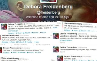 Los tweets de Débora Freidenberg que dan cuenta del maltrato hacia la pequeña Valentina.