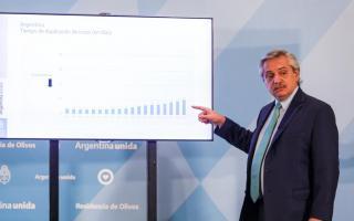 El Presidente presentó gráficos con la evolución de la pandemia en Argentina comparada con otros países.
