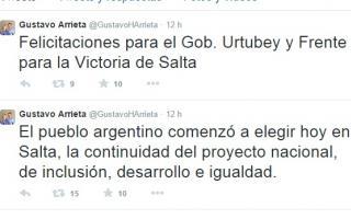 Dirigentes saludaron a Urtubey por Twitter.