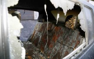 Así quedó el auto de Palleiro. Foto: LaTecla