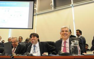 Julián Domínguez junto al titular de la Anses, Diego Bossio, y los diputados Eric Calcagno, Juan Carlos Díaz Roig y Roberto Feletti.