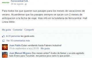 Quejas en el Facebook de Ferrocentral desmintiendo información de la empresa.