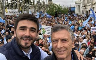 Ezequiel Galli junto a Mauricio Macri en la campaña electoral de octubre del 2019