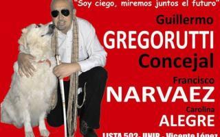 Gregorutti busca ser el primer concejal ciego de la Provincia.