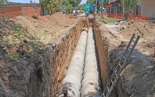 José C. Paz: Ishii supervisó avances de obra hidráulica de Barrio Parque Jardín para evitar inundaciones