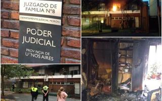 Incendio y destrucción en juzgado N°8 de Morón (Imágenes: Bomberos)