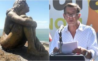 La escultura y el cirujano Mario Magrini. Foto: La Capital