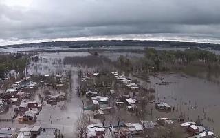 Captura de imagen de un dron utilizada por la Municipalidad de Mercedes.