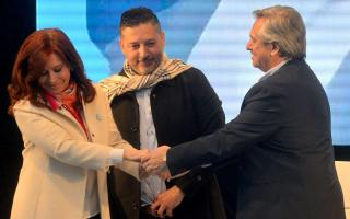 Menéndez junto a CFK y Alberto en el primer acto de presentación de la fórmula presidencial en 2019.