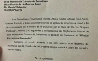 La carta en la que los senadores anuncian la formación del bloque Peronismo Renovador.