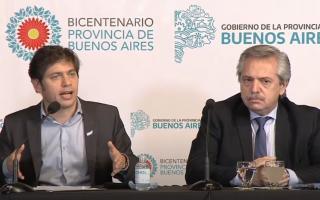 Axel Kicillof junto al presidente de la nación, Alberto Fernández