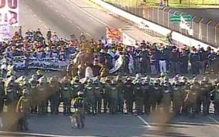 Hubo tensión entre Gendarmería y manifestantes. Foto: Captura C5N