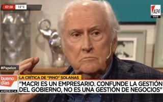 Pino Solanas arremetió contra Mauricio Macri.