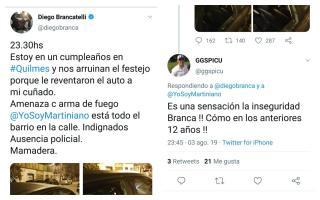 El tuit de Brancatelli y una de las respuestas recibidas.