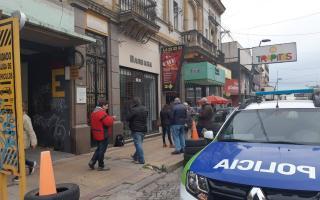 La policía impidió el ingreso de los trabajadores.