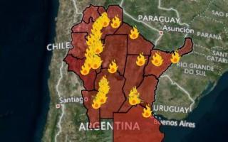 Provincias afectadas por incendios en el país (Fuente: Servicio Nacional de Manejo del Fuego)