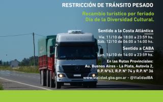 Día de la Diversidad Cultural: Restricción de tránsito pesado por el fin de semana largo