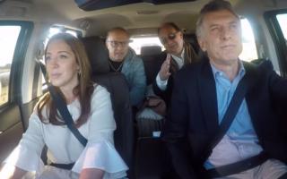 Video: 'Vasco' Olarticoechea acompañó a Macri en auto a ver obras en rutas de Saladillo