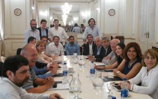 La reunión en el Senado. Foto: @jorgeferraresi