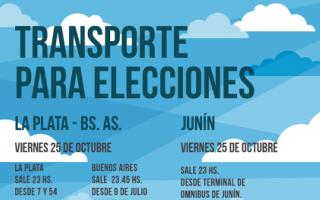 Florentino Ameghino: Transporte para estudiantes por las elecciones del 27 desde La Plata, Junín y Buenos Aires