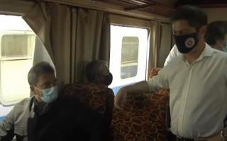 Kicillof y Massa en viaje de prueba para reactivación del tren General Guido-Divisadero Pinamar