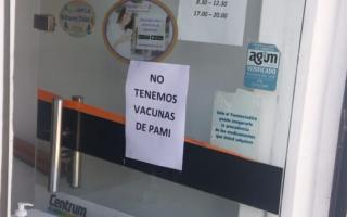 En las farmacias de la Provincia de Buenos Aires no se reciben vacunas antigripales de PAMI.