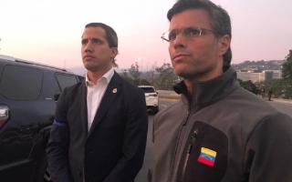 Juan Guaidó y el líder opositor Leopoldo López