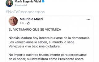 Vidal y legisladores bonaerenses se sumaron al hashtag #NoTeReconocemos contra Maduro