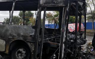 Incidentes y paro total de colectivos de la empresa Autobuses Santa Fe. Foto: Prensa