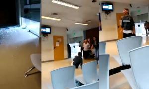 Captura del video del fatal asalto al Banco Nación.