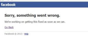 La Red Social Facebook ha quedado fuera de servicio.