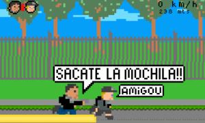 Ami-Go! refleja el incidente con el turista que busca alejarse del ladrón que busca quitarle la mochila.