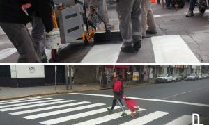 Nuevas tareas de señalización vial en Lanús.