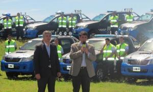 Macri presentó nuevos móviles para reforzar la seguridad en Vicente López. Foto: Infoban