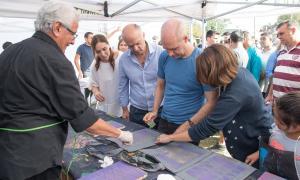"""Grindetti presentó """"Arte en barrios"""" junto a Vidal y Rodríguez Larreta en Lanús"""