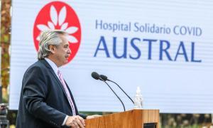 Alberto Fernández dio un discurso en Pilar