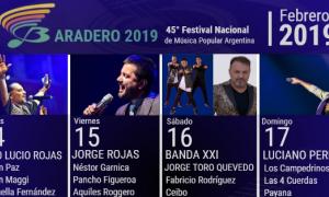 Grilla del del 45° Festival Nacional de Música Popular Argentina de Baradero 2019