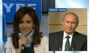 Cristina en videoconferencia con Putin.