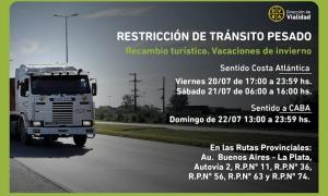 Restricción de camiones por vacaciones de invierno en rutas de la Provincia de Buenos Aires