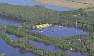 Impactante: El estadio Carlos V quedó bajo el agua.