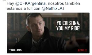 """""""Cristina, nosotros también estamos a full con Netflix"""", publicaron los productores de The Killing."""