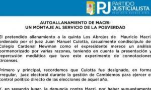 """PJ Bonaerense denunció un """"auto allanamiento"""" del expresidente en su quinta"""